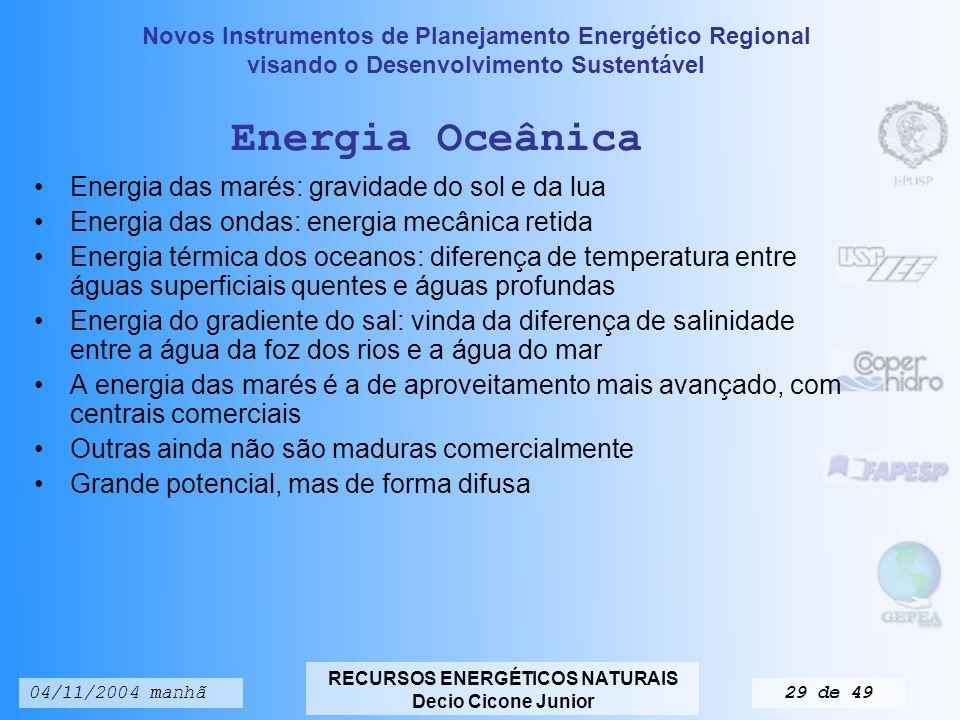 Energia Oceânica Energia das marés: gravidade do sol e da lua
