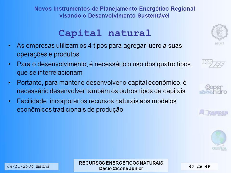 Capital natural As empresas utilizam os 4 tipos para agregar lucro a suas operações e produtos.