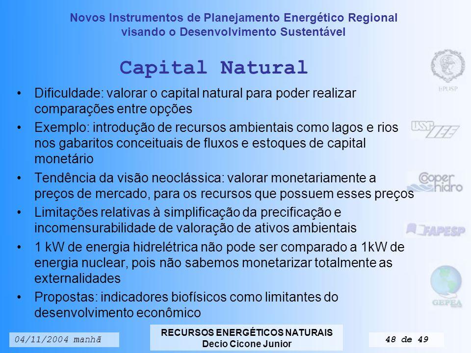 Capital Natural Dificuldade: valorar o capital natural para poder realizar comparações entre opções.