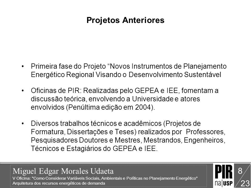 Projetos Anteriores Primeira fase do Projeto Novos Instrumentos de Planejamento Energético Regional Visando o Desenvolvimento Sustentável.