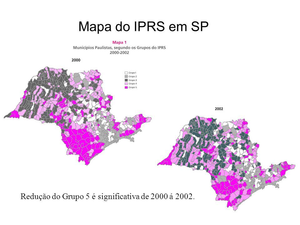 Mapa do IPRS em SP Redução do Grupo 5 é significativa de 2000 á 2002.