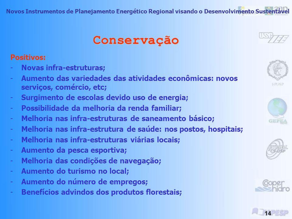 Conservação Positivos: Novas infra-estruturas;