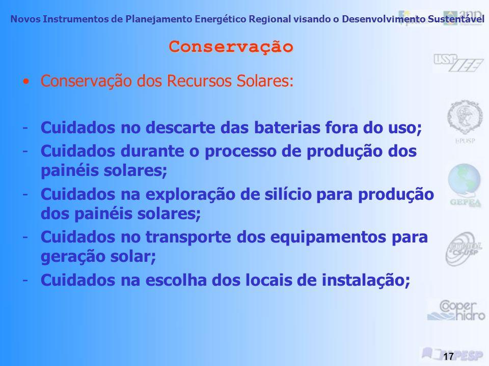 Conservação Conservação dos Recursos Solares: