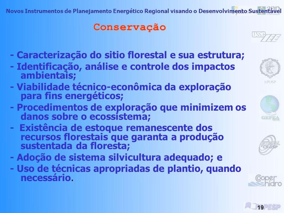 Conservação - Caracterização do sitio florestal e sua estrutura;