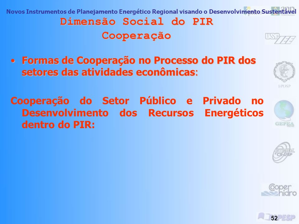 Dimensão Social do PIR Cooperação