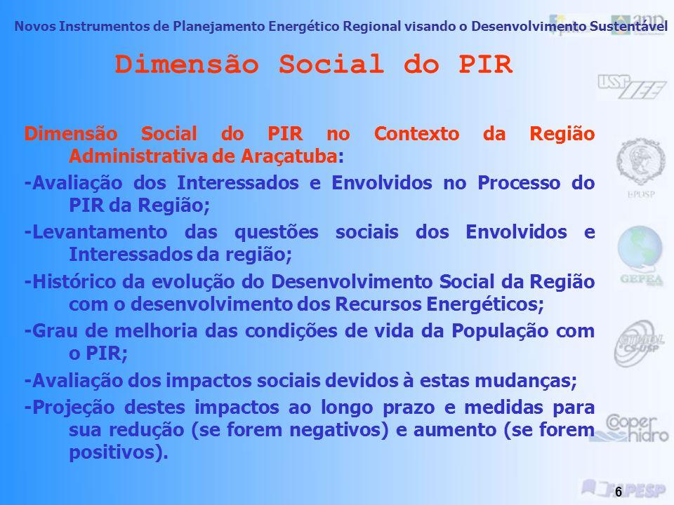 Dimensão Social do PIR Dimensão Social do PIR no Contexto da Região Administrativa de Araçatuba: