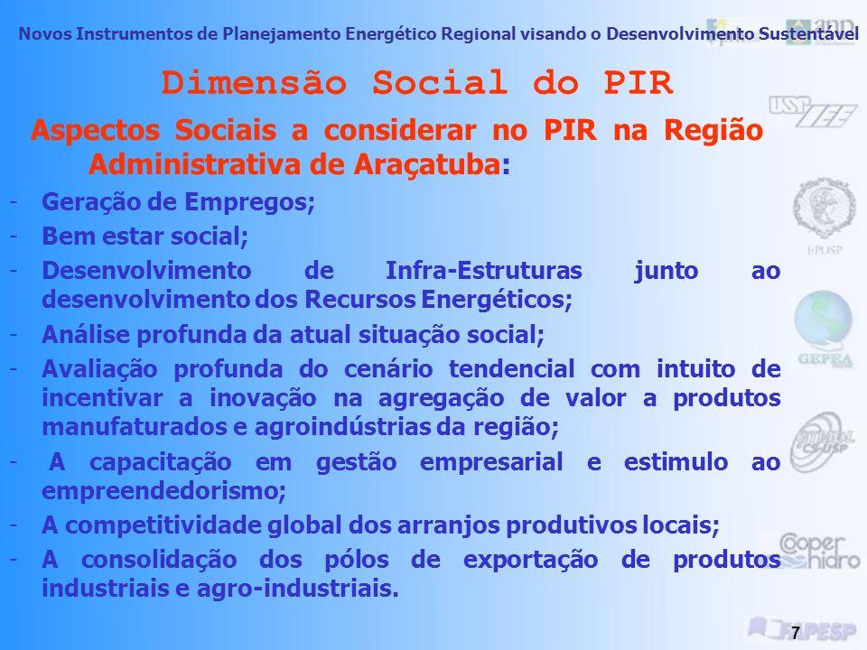 Dimensão Social do PIR Aspectos Sociais a considerar no PIR na Região Administrativa de Araçatuba: Geração de Empregos;