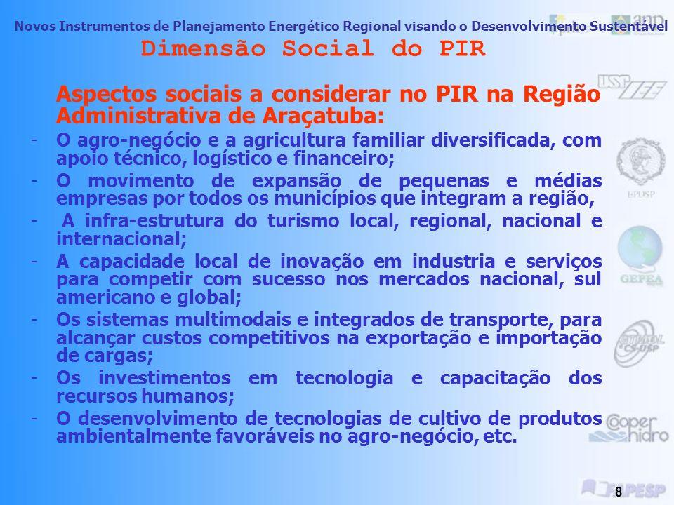 Dimensão Social do PIR Aspectos sociais a considerar no PIR na Região Administrativa de Araçatuba:
