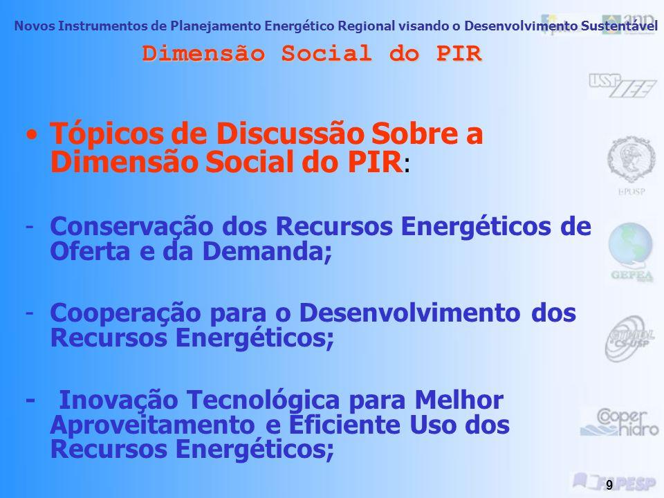 Tópicos de Discussão Sobre a Dimensão Social do PIR: