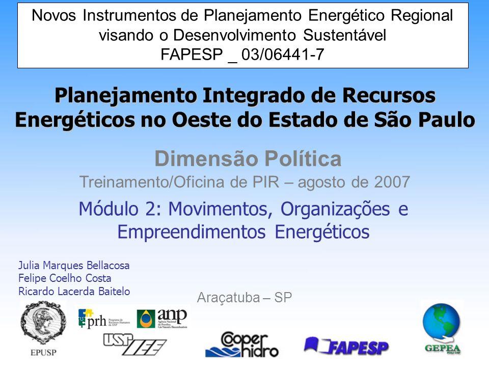 Módulo 2: Movimentos, Organizações e Empreendimentos Energéticos