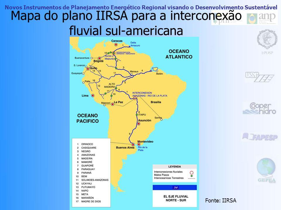 Mapa do plano IIRSA para a interconexão fluvial sul-americana