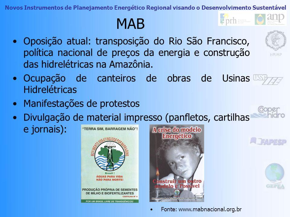 MAB Oposição atual: transposição do Rio São Francisco, política nacional de preços da energia e construção das hidrelétricas na Amazônia.