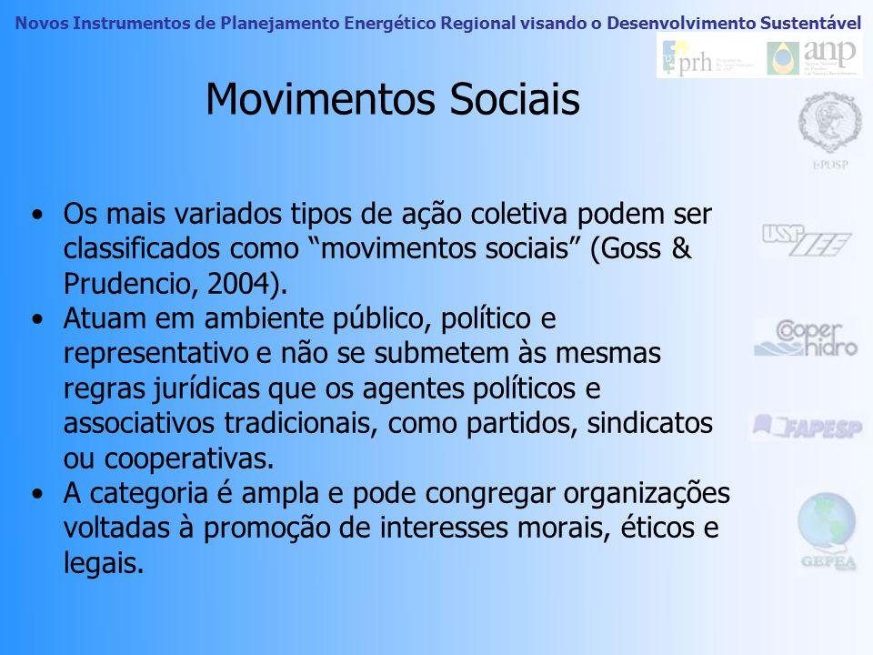 Movimentos Sociais Os mais variados tipos de ação coletiva podem ser classificados como movimentos sociais (Goss & Prudencio, 2004).
