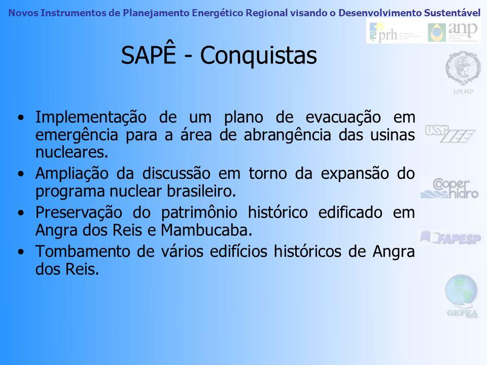 SAPÊ - Conquistas Implementação de um plano de evacuação em emergência para a área de abrangência das usinas nucleares.