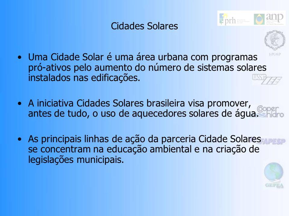 Cidades SolaresUma Cidade Solar é uma área urbana com programas pró-ativos pelo aumento do número de sistemas solares instalados nas edificações.