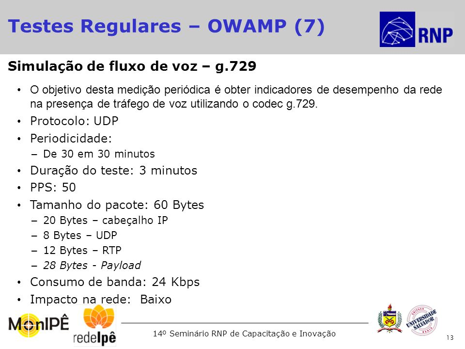 Testes Regulares – OWAMP (7)‏