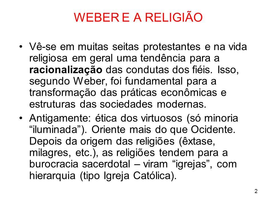 WEBER E A RELIGIÃO