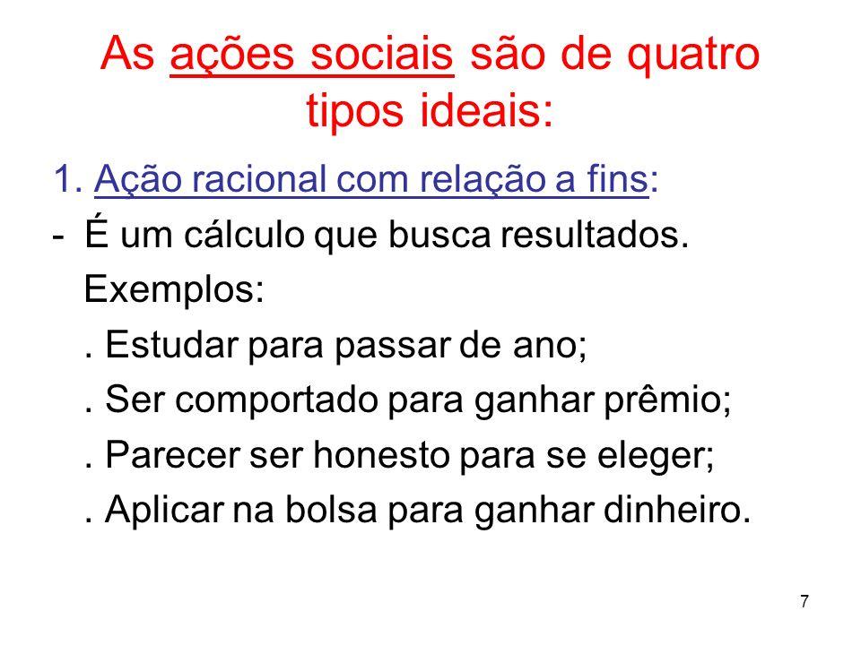 As ações sociais são de quatro tipos ideais:
