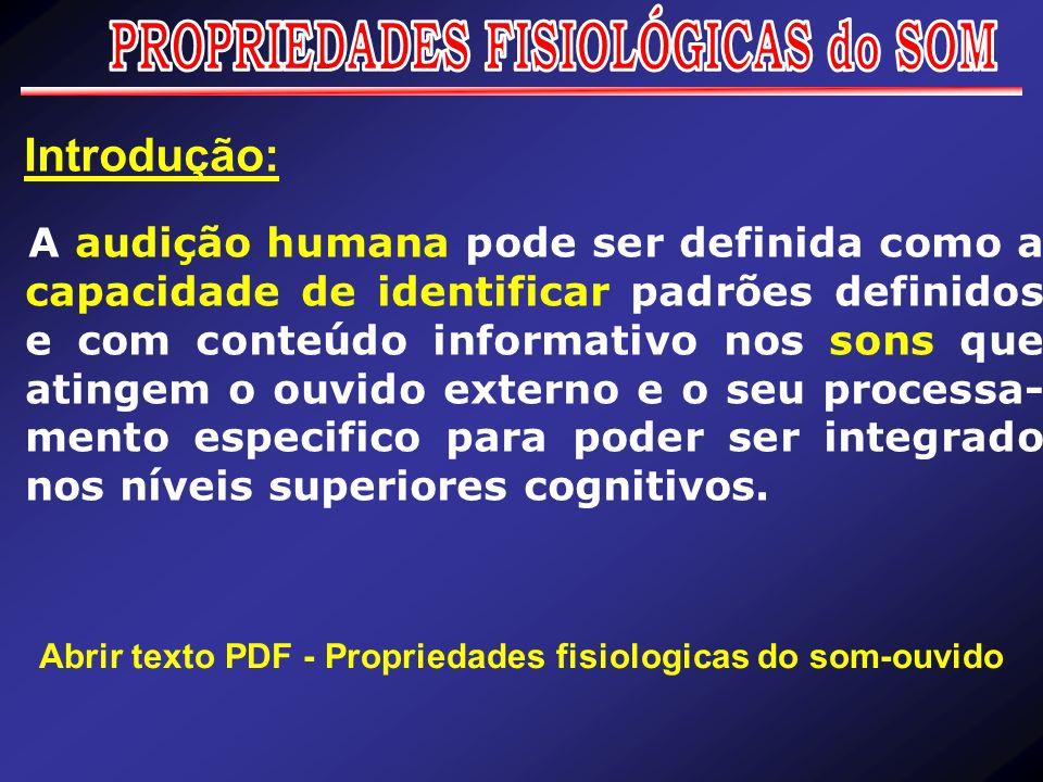 PROPRIEDADES FISIOLÓGICAS do SOM