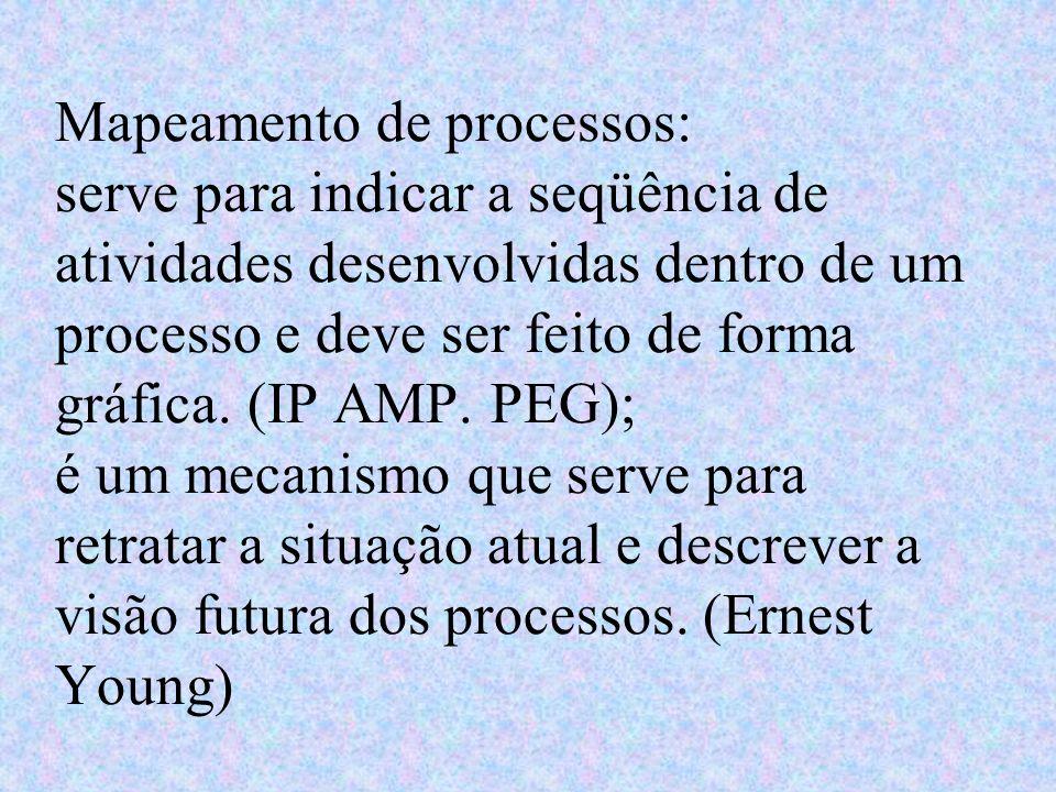 Mapeamento de processos: serve para indicar a seqüência de atividades desenvolvidas dentro de um processo e deve ser feito de forma gráfica.