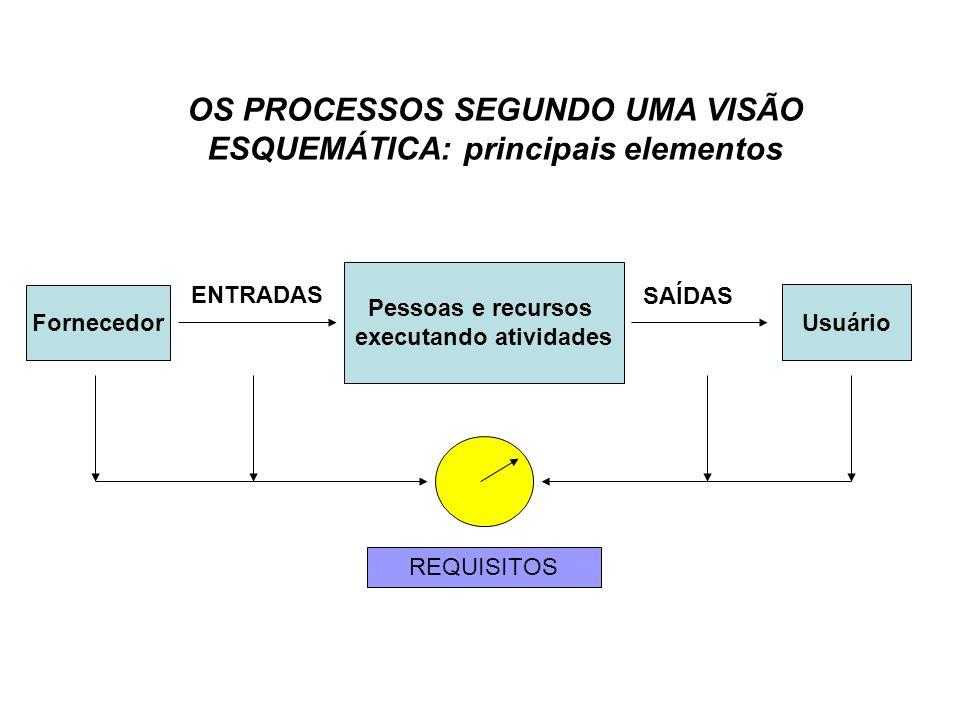 OS PROCESSOS SEGUNDO UMA VISÃO ESQUEMÁTICA: principais elementos