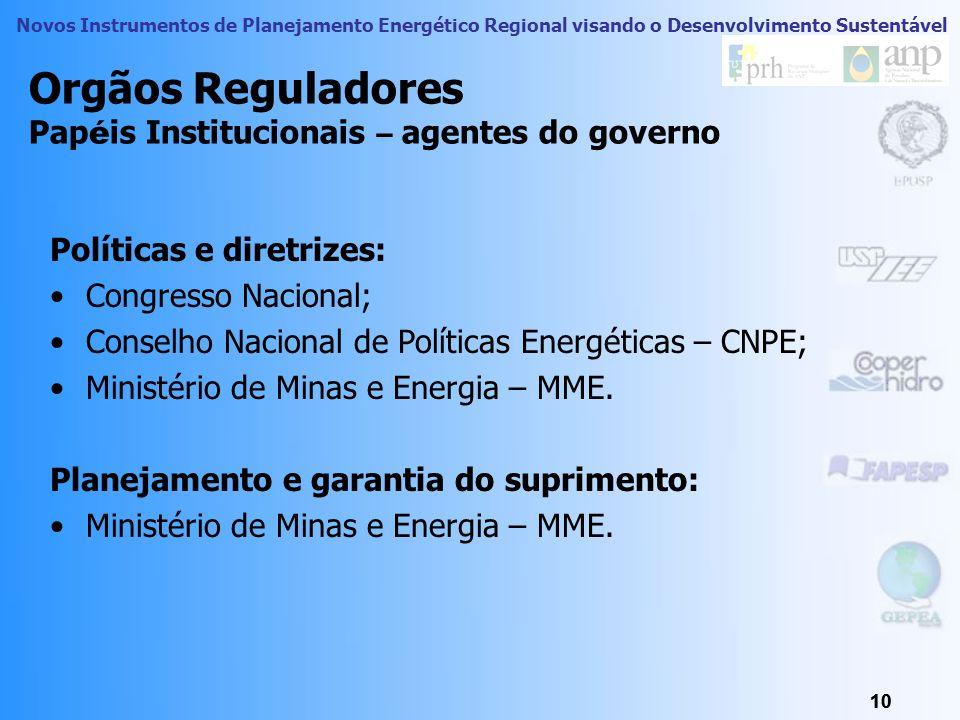 Orgãos Reguladores Papéis Institucionais – agentes do governo