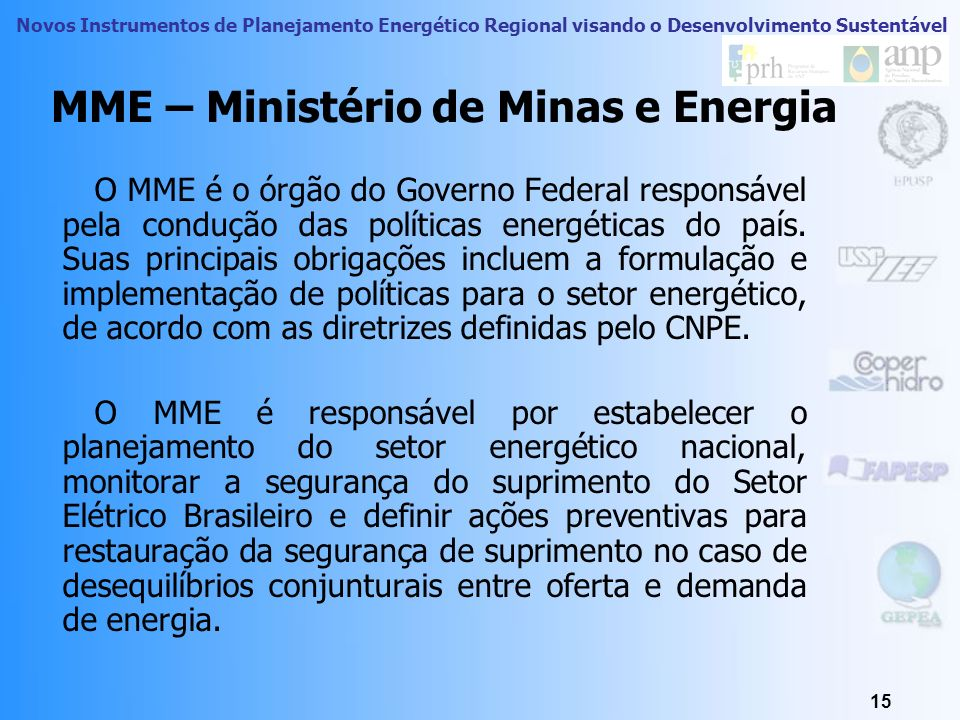 MME – Ministério de Minas e Energia