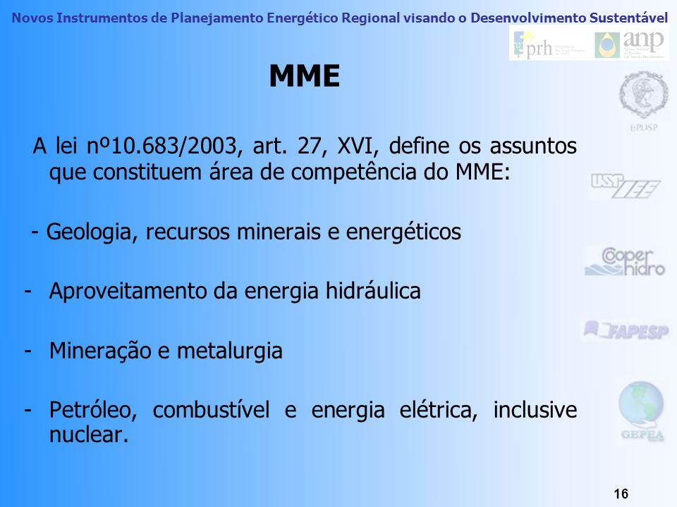 MME A lei nº10.683/2003, art. 27, XVI, define os assuntos que constituem área de competência do MME: