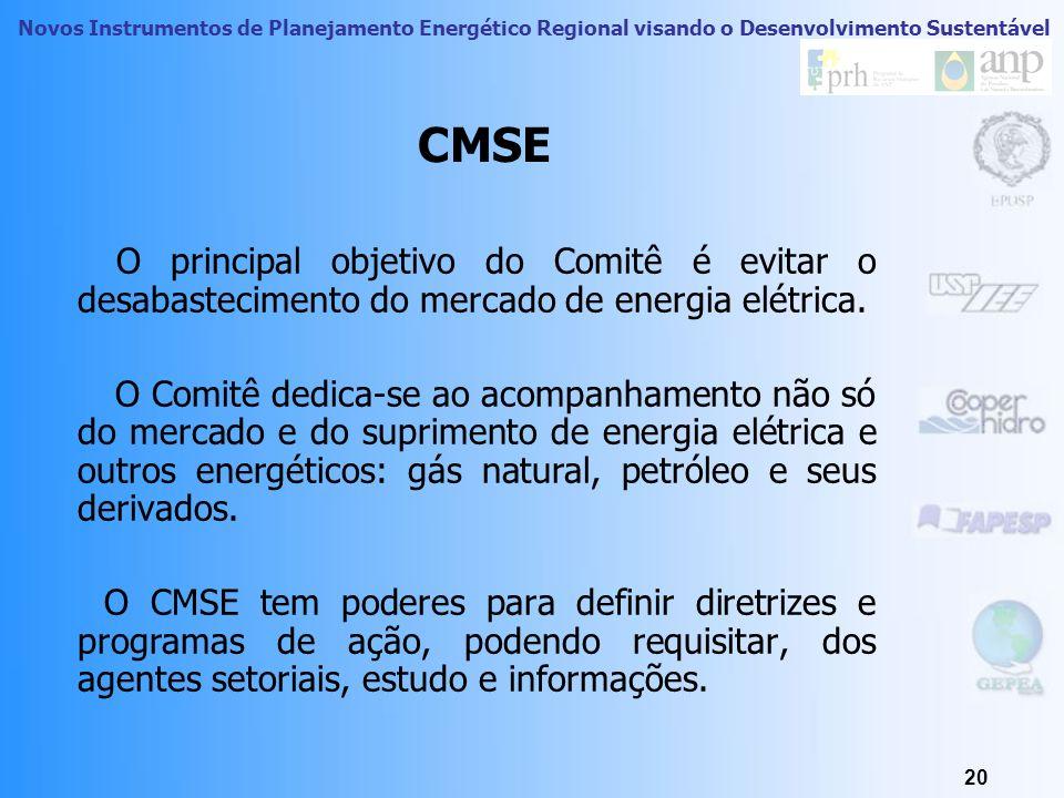 CMSE O principal objetivo do Comitê é evitar o desabastecimento do mercado de energia elétrica.