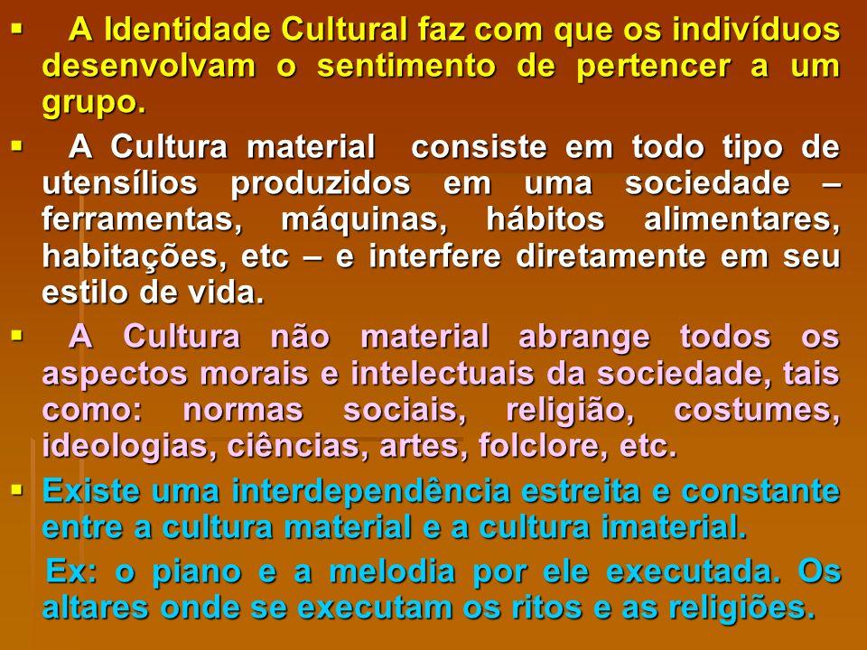 A Identidade Cultural faz com que os indivíduos desenvolvam o sentimento de pertencer a um grupo.
