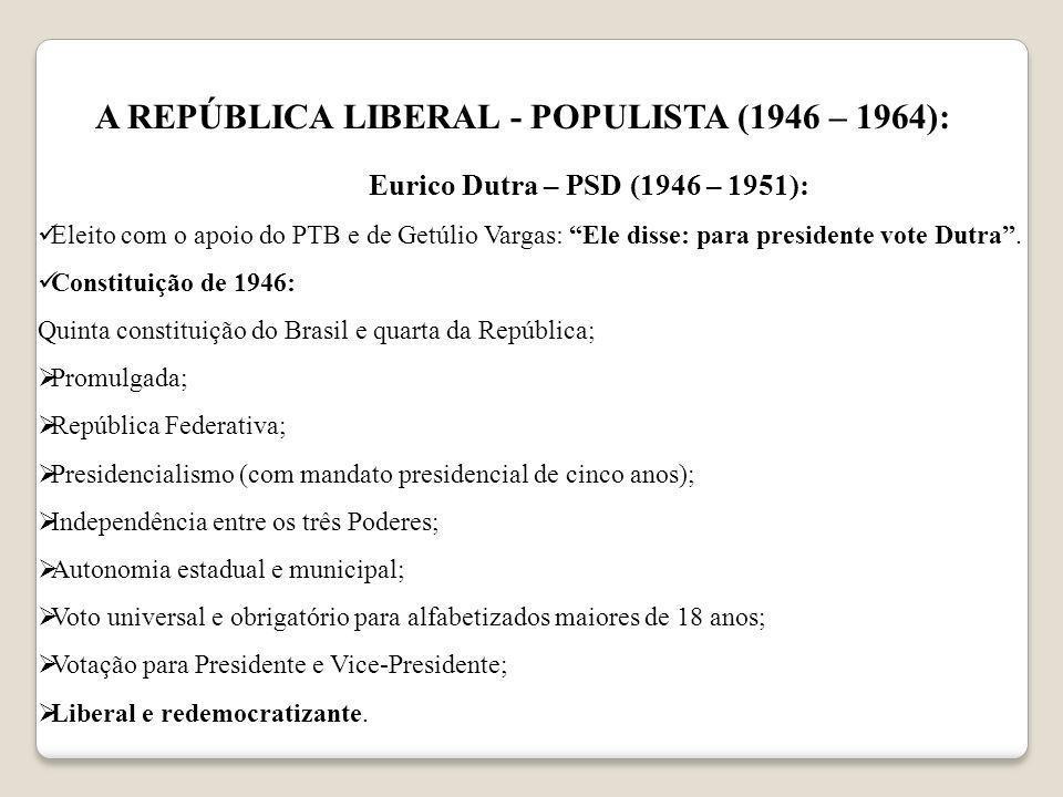 A REPÚBLICA LIBERAL - POPULISTA (1946 – 1964):