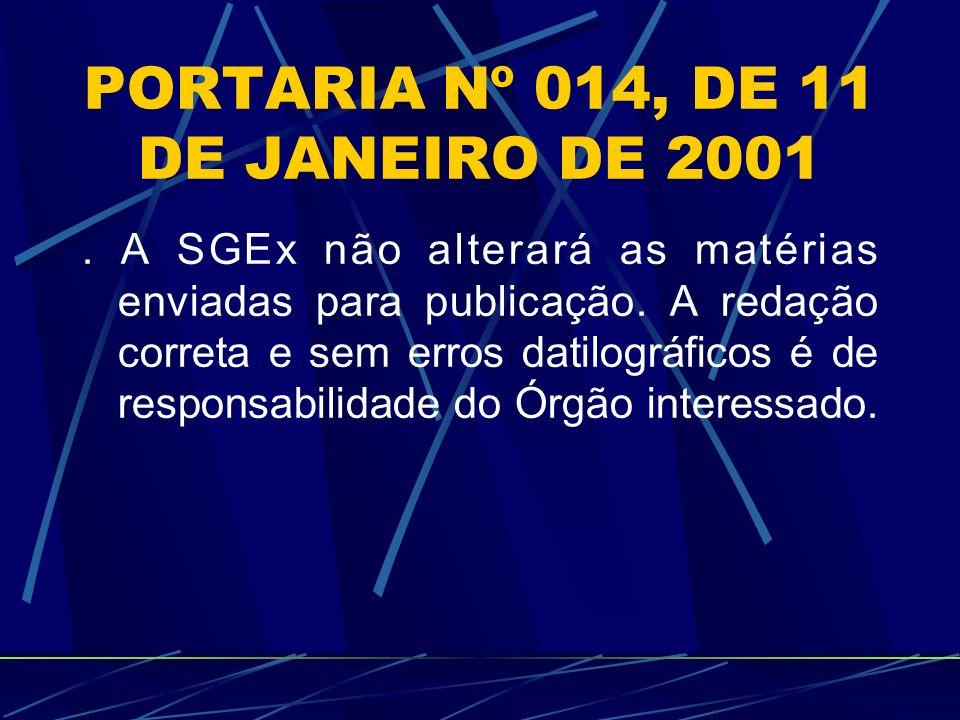 PORTARIA Nº 014, DE 11 DE JANEIRO DE 2001