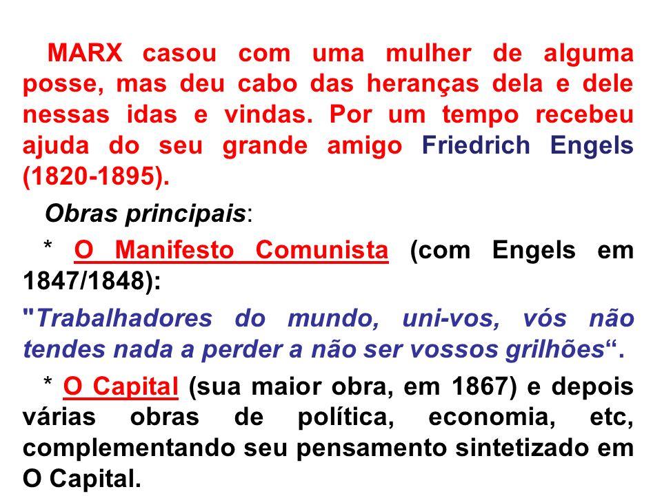 * O Manifesto Comunista (com Engels em 1847/1848):