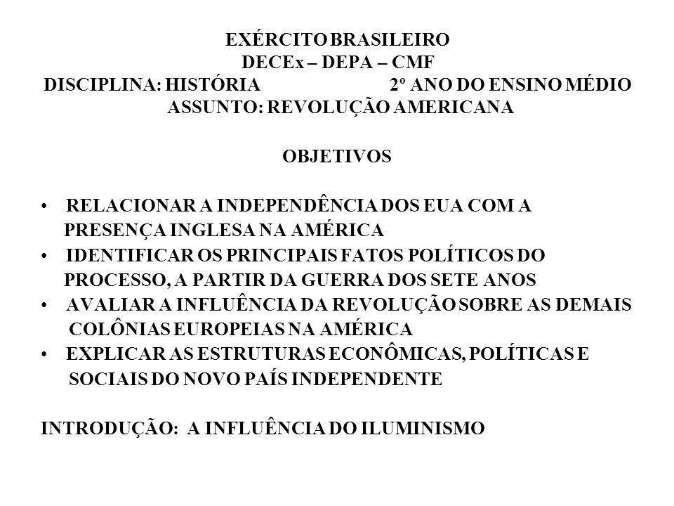 EXÉRCITO BRASILEIRO DECEx – DEPA – CMF DISCIPLINA: HISTÓRIA 2º ANO DO ENSINO MÉDIO ASSUNTO: REVOLUÇÃO AMERICANA