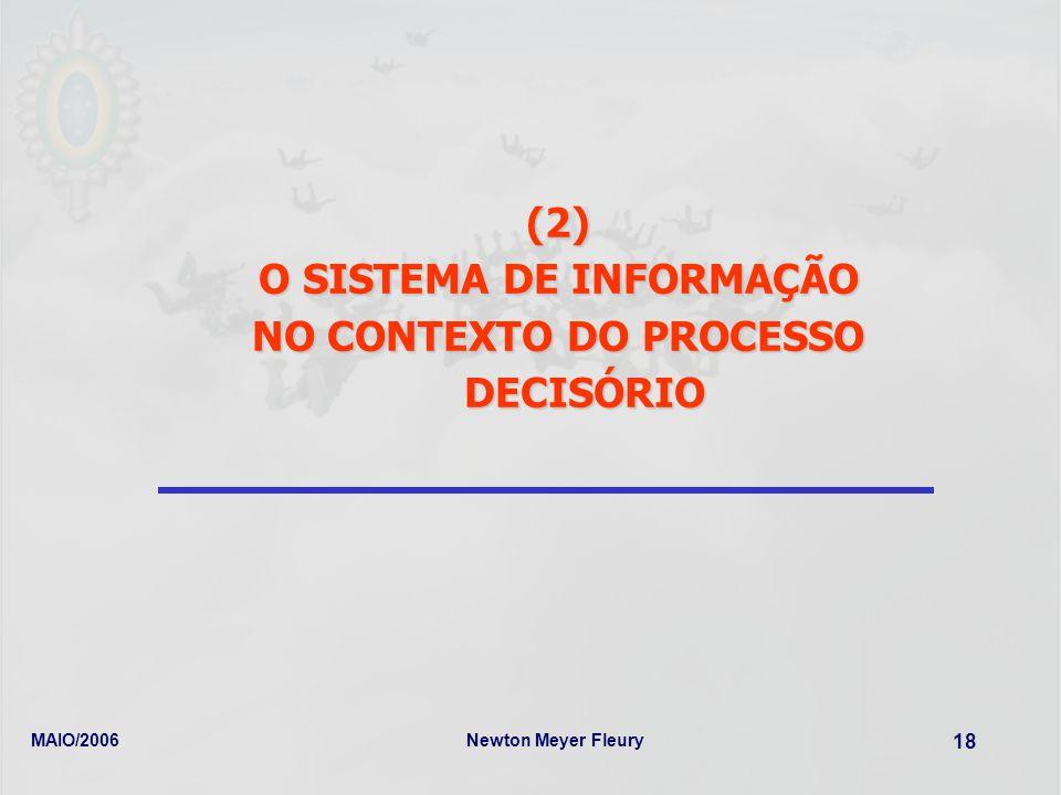 O SISTEMA DE INFORMAÇÃO NO CONTEXTO DO PROCESSO DECISÓRIO