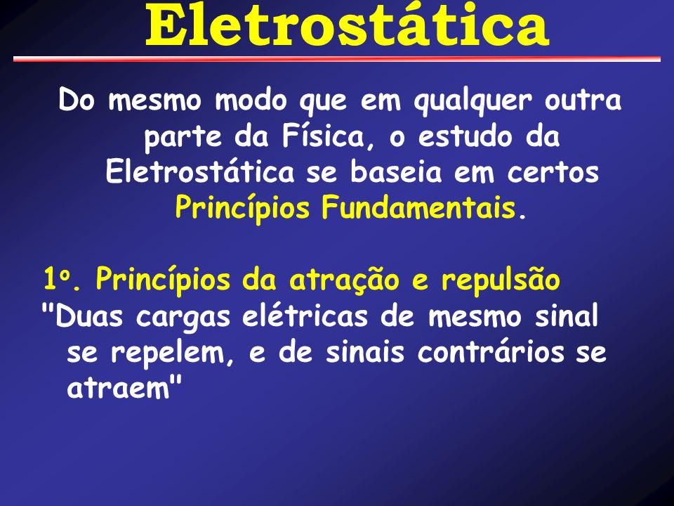 Eletrostática Do mesmo modo que em qualquer outra parte da Física, o estudo da Eletrostática se baseia em certos Princípios Fundamentais.