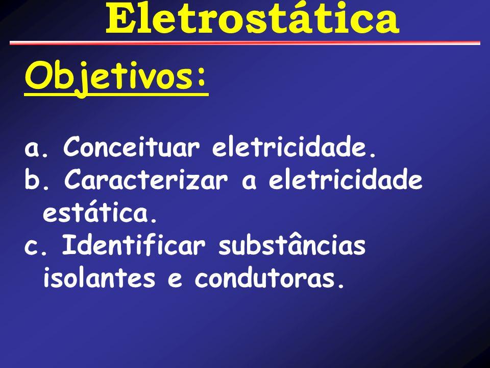 Objetivos: a. Conceituar eletricidade.