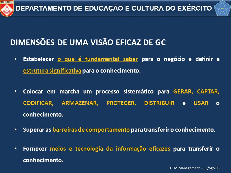 DIMENSÕES DE UMA VISÃO EFICAZ DE GC