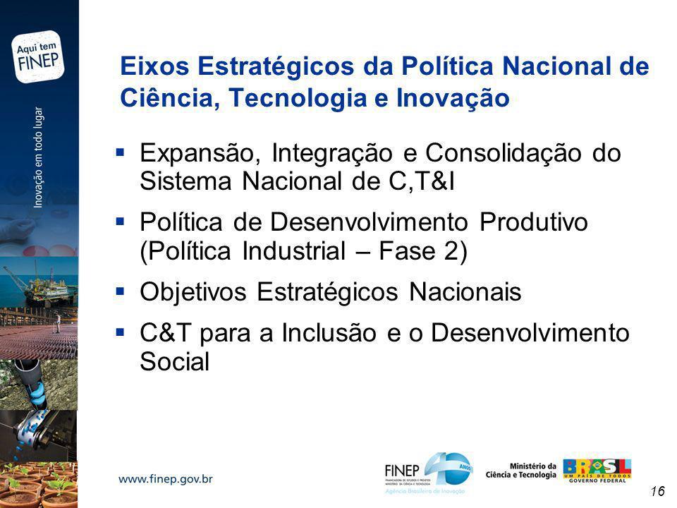 Eixos Estratégicos da Política Nacional de Ciência, Tecnologia e Inovação