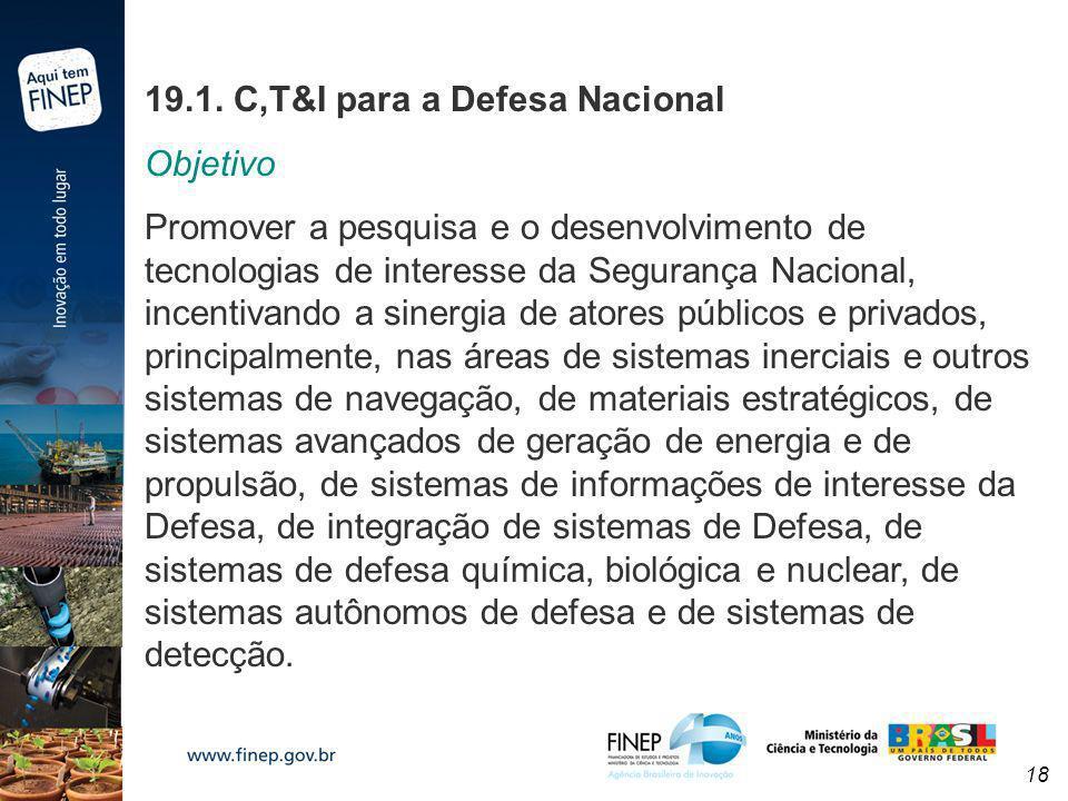 19.1. C,T&I para a Defesa Nacional