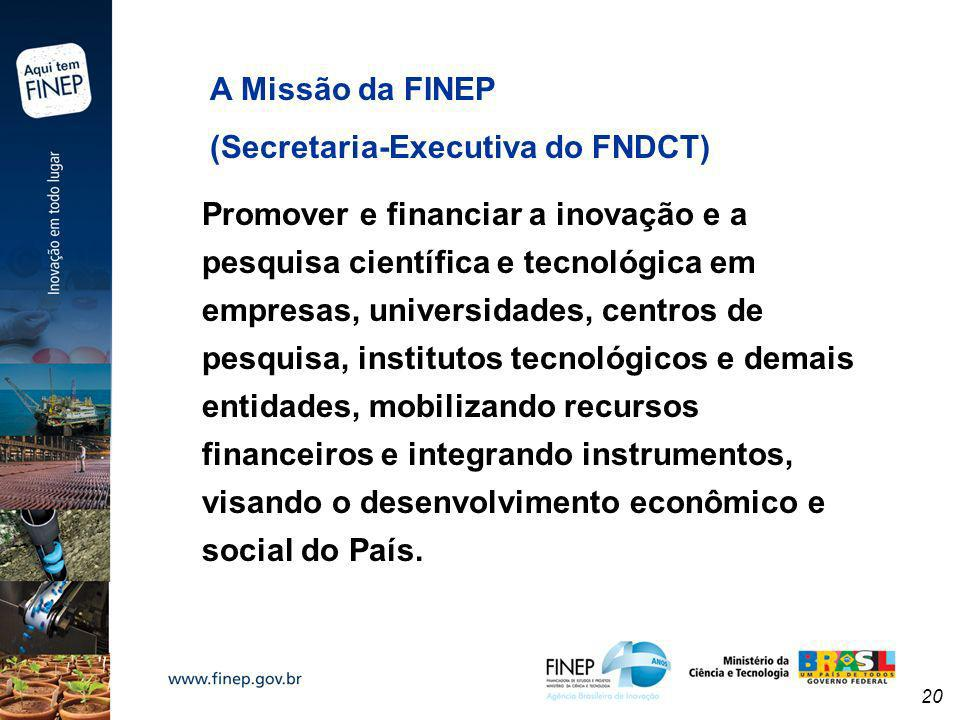 A Missão da FINEP(Secretaria-Executiva do FNDCT)