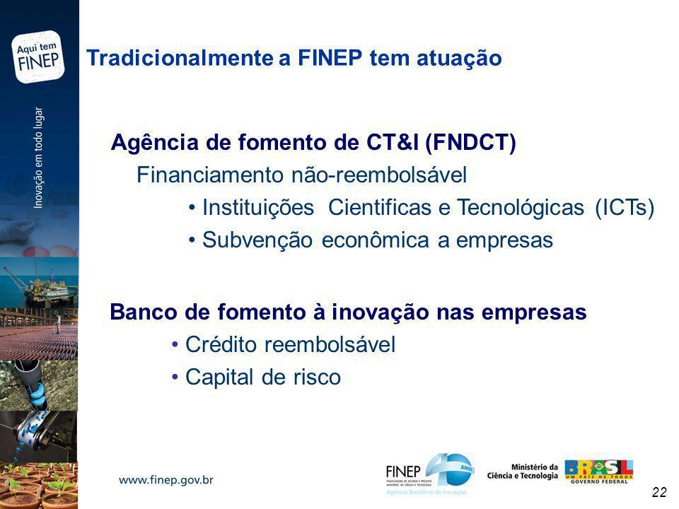 Tradicionalmente a FINEP tem atuação