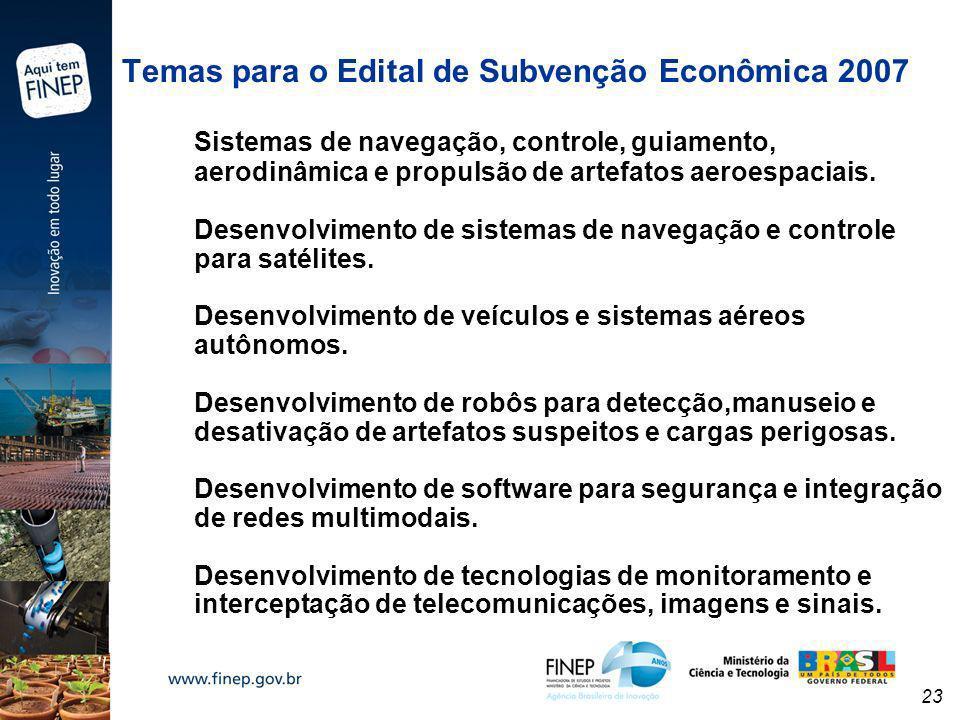 Temas para o Edital de Subvenção Econômica 2007 Sistemas de navegação, controle, guiamento, aerodinâmica e propulsão de artefatos aeroespaciais.
