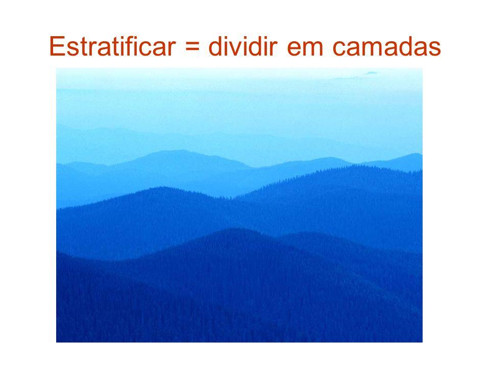 Estratificar = dividir em camadas