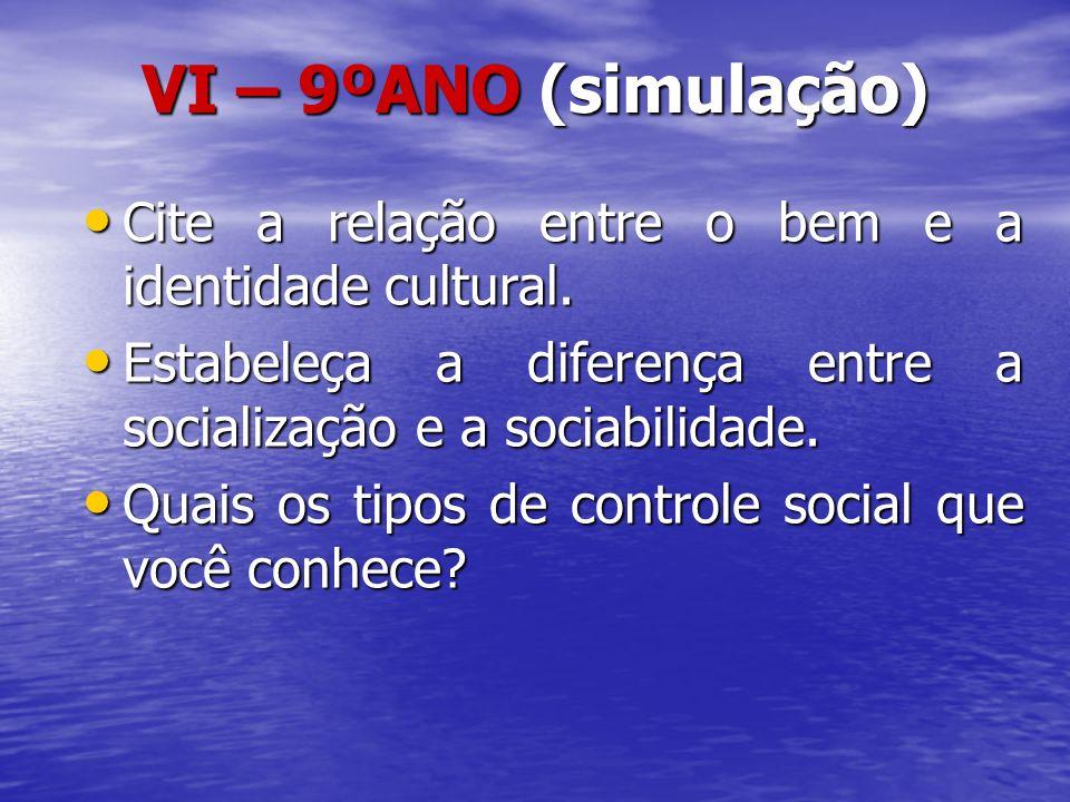 VI – 9ºANO (simulação) Cite a relação entre o bem e a identidade cultural. Estabeleça a diferença entre a socialização e a sociabilidade.