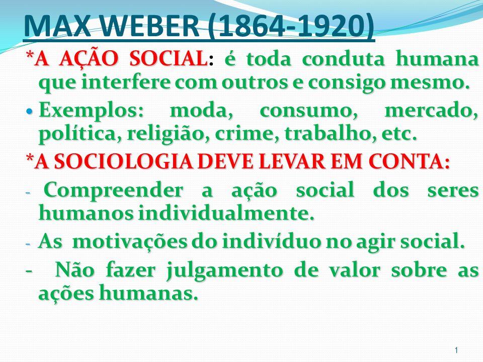 MAX WEBER (1864-1920) *A AÇÃO SOCIAL: é toda conduta humana que interfere com outros e consigo mesmo.
