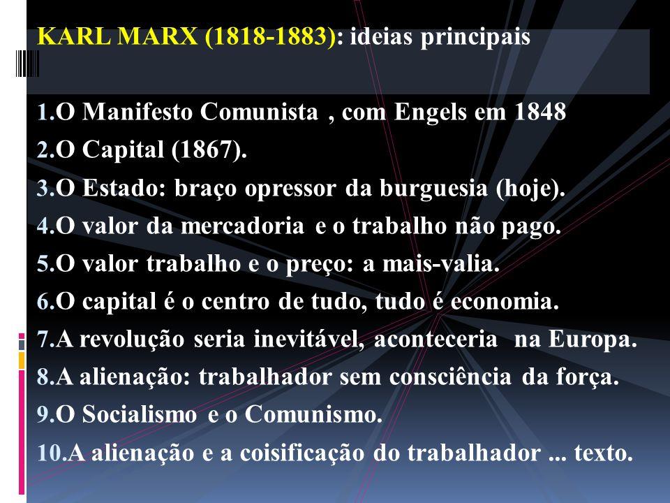 KARL MARX (1818-1883): ideias principais
