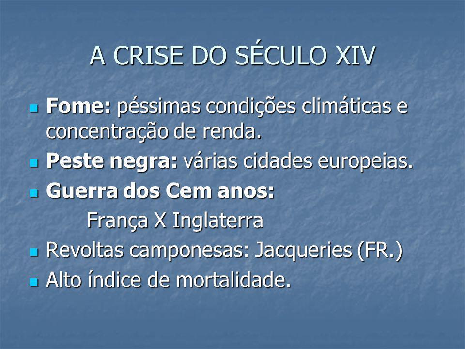 A CRISE DO SÉCULO XIV Fome: péssimas condições climáticas e concentração de renda. Peste negra: várias cidades europeias.