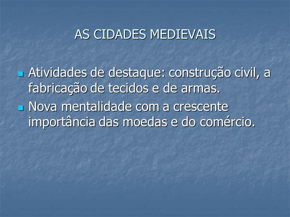 AS CIDADES MEDIEVAIS Atividades de destaque: construção civil, a fabricação de tecidos e de armas.