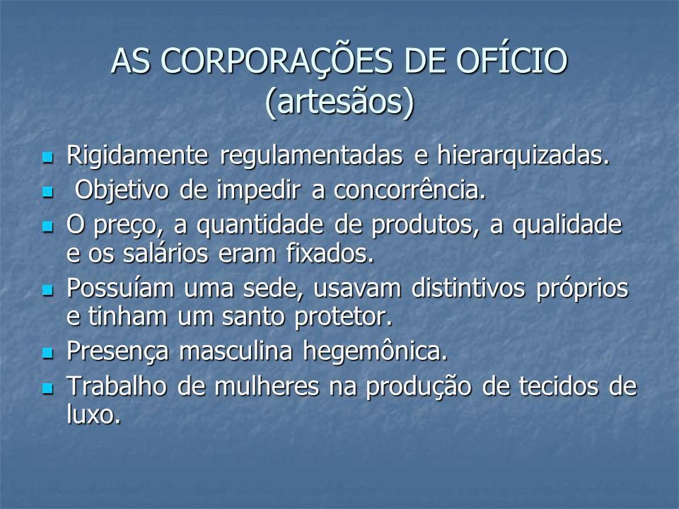 AS CORPORAÇÕES DE OFÍCIO (artesãos)